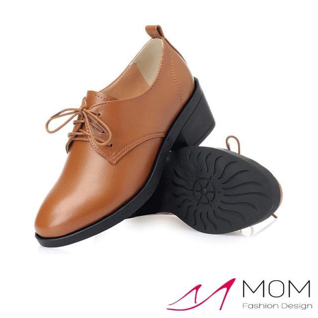 【MOM】真皮牛津鞋 粗跟牛津鞋/真皮細緻牛皮優雅深口繫帶防水台粗跟牛津鞋(棕)