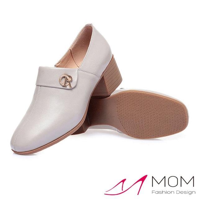 【MOM】真皮跟鞋 粗跟鞋/真皮細緻牛皮小方頭翻領設計深口粗跟鞋(淺灰)