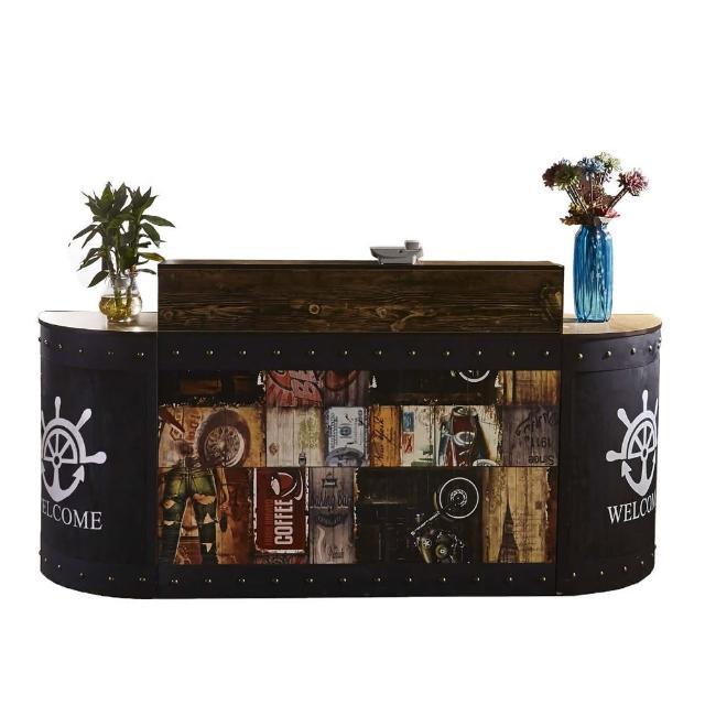 【AT HOME】美式設計7尺塗鴉圖騰造型多功能工作桌/收銀桌組(魯夫)