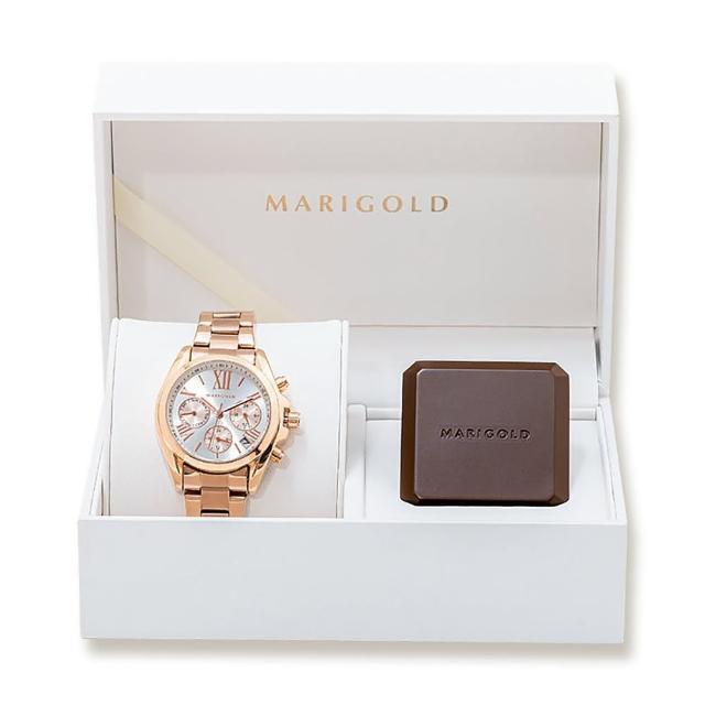 【MARIGOLD 美爾朵】Flipped 手錶香膏禮盒(白面玫金框-鍊帶玫金 + 二入可替式香膏芯)