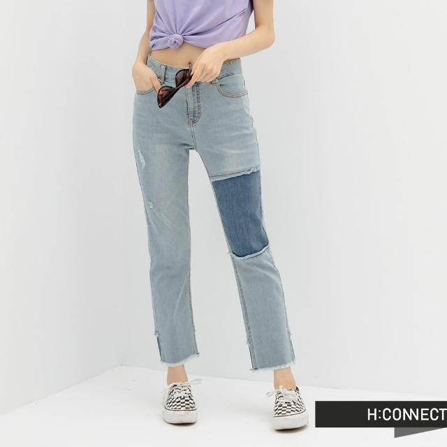 【H:CONNECT】韓國品牌 女裝 -率性補丁抓鬚牛仔長褲(藍色)