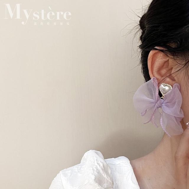 【my stere 我的時尚秘境】秘境限定~蝴蝶結紗帶珍珠愛心鑲鑽耳環(時尚 蝴蝶結 珍珠 水鑽 銀針)