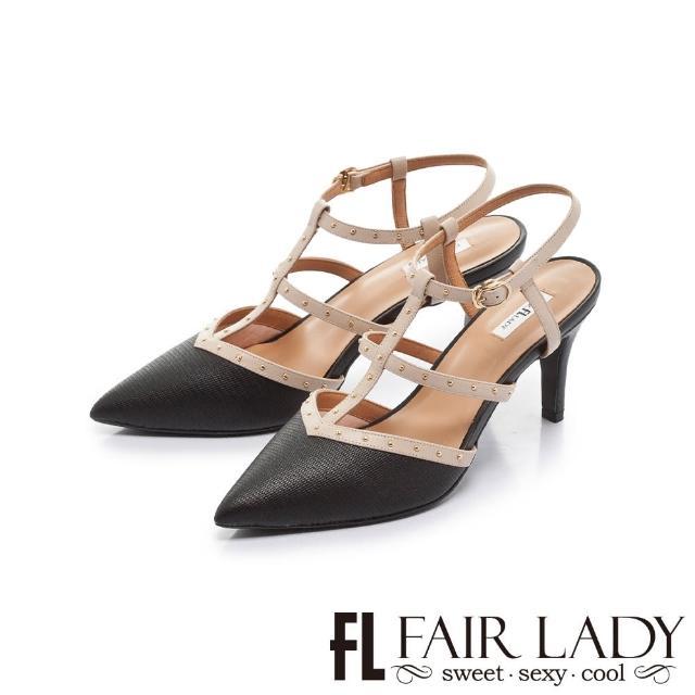 【FAIR LADY】優雅小姐 尖頭魚骨繫帶鉚釘高跟涼鞋(黑、402391)