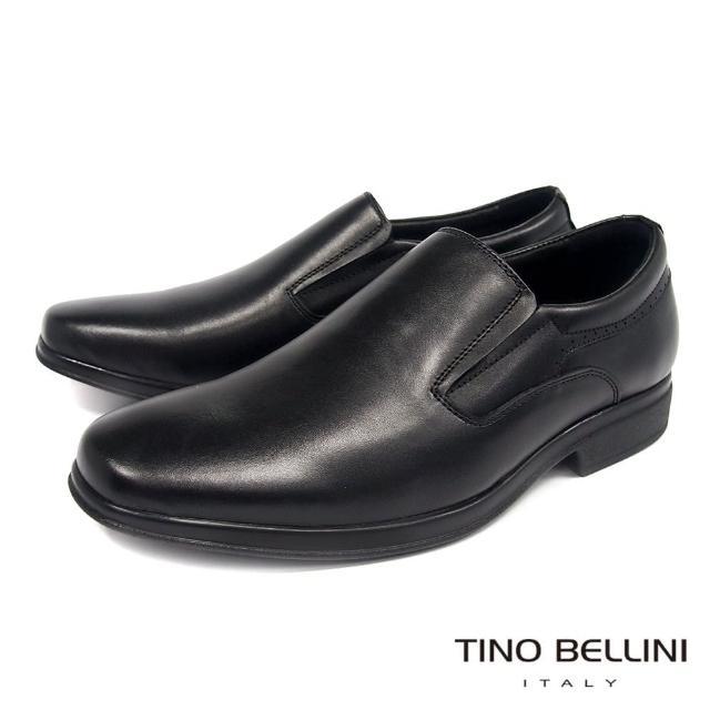 【TINO BELLINI 貝里尼】牛皮優雅型男直套式紳士鞋-男 HM3T0021-1(黑)