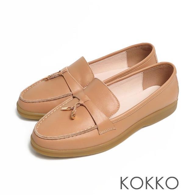 【KOKKO 集團】簡約鎖結彈力彎折輕量牛皮平底休閒鞋(卡其色)