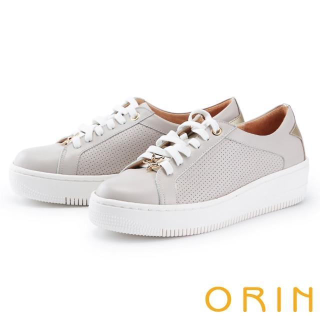 【ORIN】金屬星星真皮綁帶厚底 女 休閒鞋(灰藕)