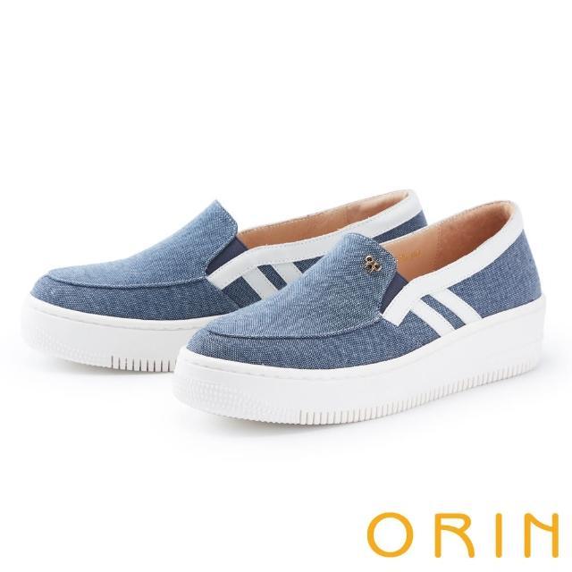 【ORIN】牛仔布面厚底 女 休閒鞋(藍色)