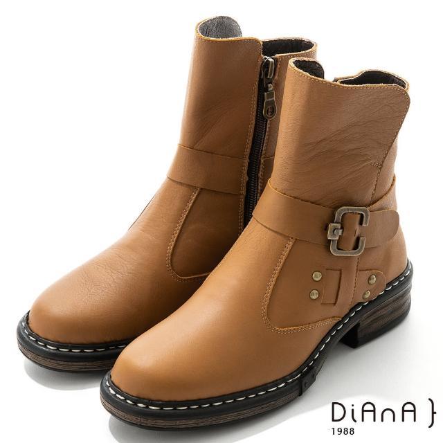 【DIANA】4.5cm 質感牛皮鉚釘皮帶環踝釦飾工程靴-率性自我(棕)