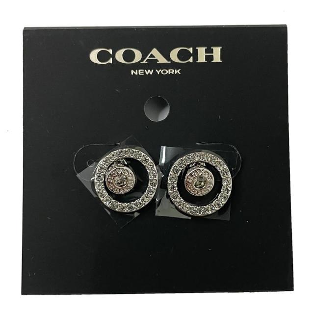 【COACH】仿鑽後套雙圈圈針式耳環(銀色)