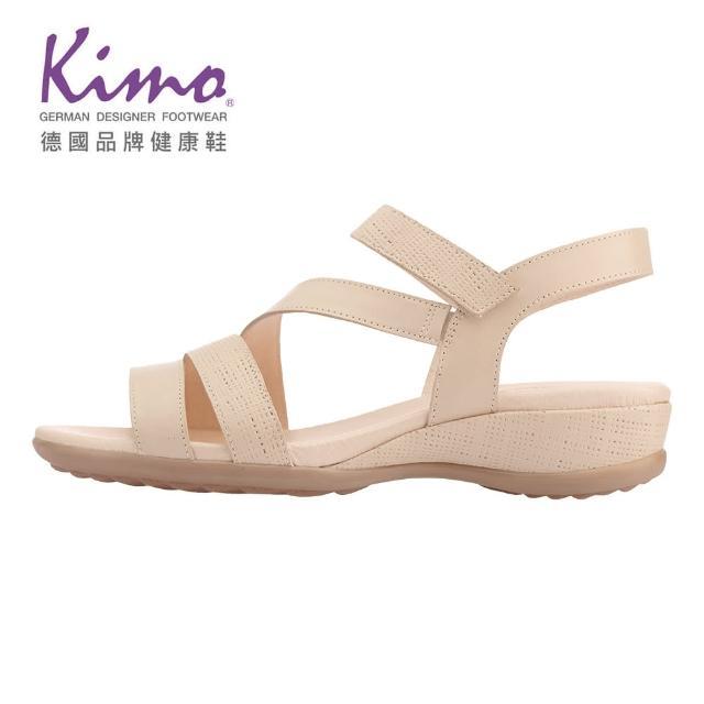 【Kimo】牛皮簡約繫帶涼鞋 女鞋(膚 D65BASF001010)