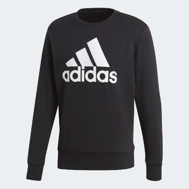 【adidas 愛迪達】大學T Sport Ess Biglogo 男款 愛迪達 長袖上衣 衛衣 寬鬆版型 黑 白(CD6275)
