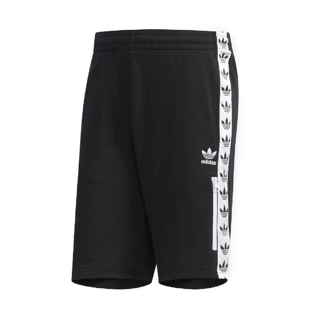 【adidas 愛迪達】短褲 Shorts Trefoil 運動休閒 男款 愛迪達 三葉草 串標 路跑 健身 重訓 黑白(DX4230)