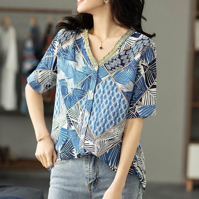 【麗質達人】7503藍色印花中長版襯衫(L-5XL)