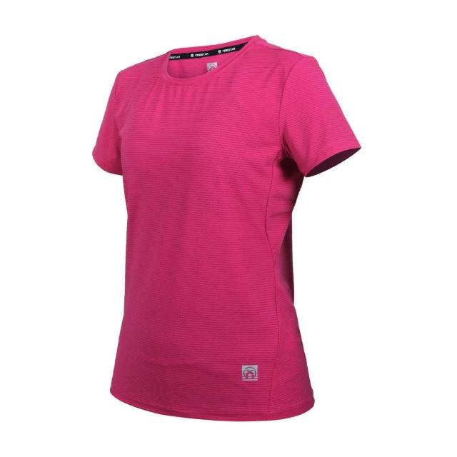 【FIRESTAR】女彈性機能圓領短袖T恤-運動 慢跑 路跑 上衣 涼感 反光 桃紅(DL161-47)