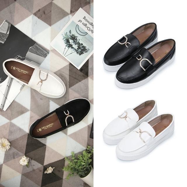 【FUFA Shoes 富發牌】閃亮亮釦飾懶人鞋-黑/白 1BD55