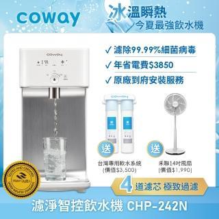 【贈14吋DC扇★Coway】濾淨智控飲水機 冰溫瞬熱桌上型CHP-242N(贈軟水淨水器)