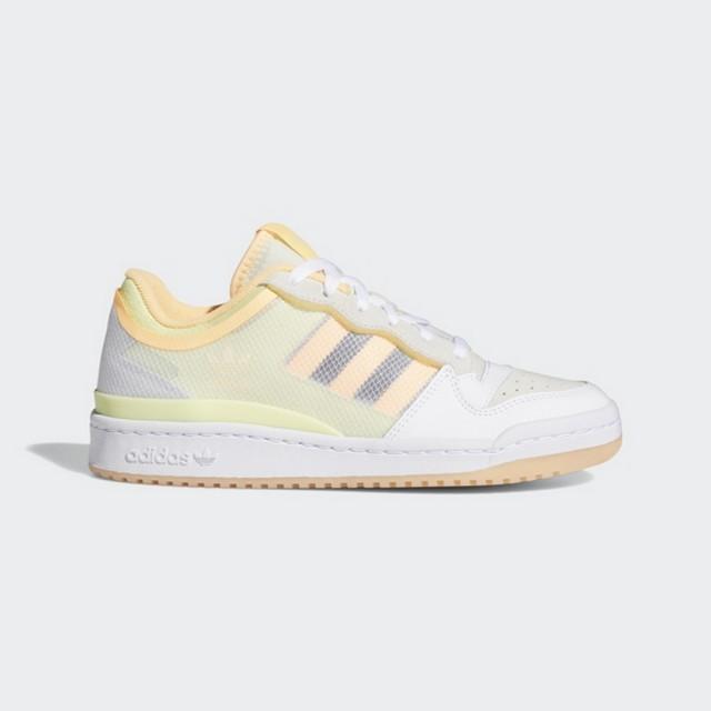 【adidas 愛迪達】FORUM LOW TT W 女 休閒鞋 白黃(FY8013)