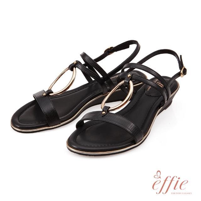 A.S.O 阿瘦集團【A.S.O 阿瘦集團】effie網獨款-簡意時尚簡約金屬環釦低跟楔型涼鞋(黑)