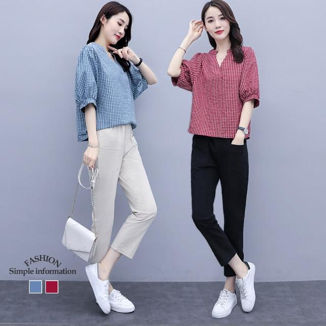 【Alishia】涼夏時尚棉麻顯瘦兩件式套裝 M-2XL(現+預 藍衣杏褲 / 紅衣黑褲)