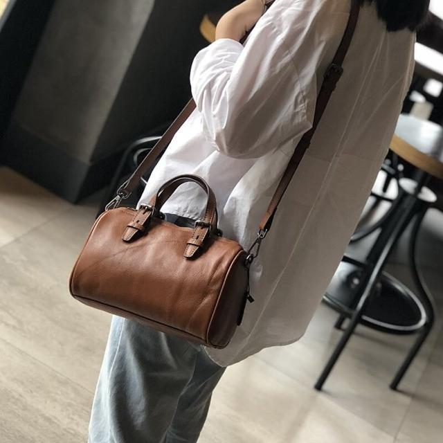 【米蘭精品】側背包真皮手提包(百搭柔軟牛皮波士頓包女包包情人節生日禮物2色73zu5)