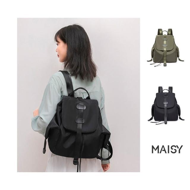 【MAISY】雙側袋防潑水牛津布後背包(現+預 黑色 / 軍綠色)