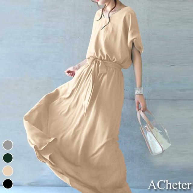 【ACheter】日本獨特簡約鬆緊腰棉麻寬鬆高垂長洋裝#109442現貨+預購(4色)