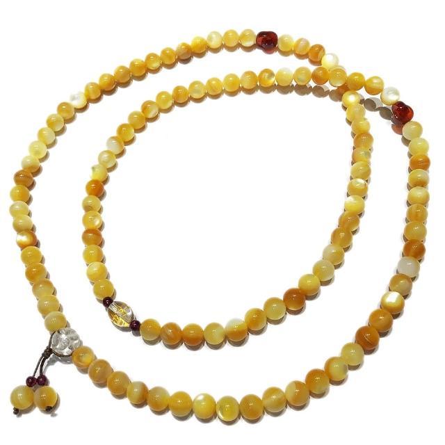 【十方佛教文物】六字真言{水晶}+黃金珍珠貝108念珠8mm