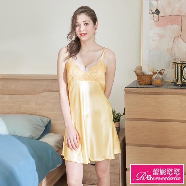 【蕾妮塔塔】彈力珍珠絲質 吊帶小洋裝 香檳黃(R06015-11)