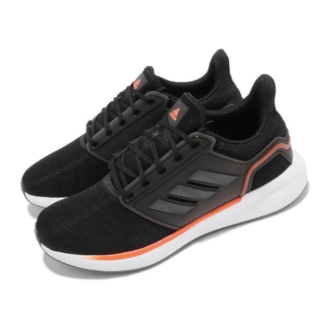 【adidas 愛迪達】慢跑鞋 EQ19 Run 運動 男鞋 愛迪達 輕量 透氣 舒適 避震 路跑 黑 白(H00929)
