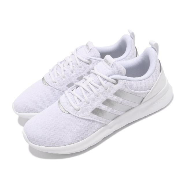 【adidas 愛迪達】慢跑鞋 QT Racer 2.0 運動 女鞋 愛迪達 輕量 透氣 舒適 避震 路跑 白 銀(FY8313)