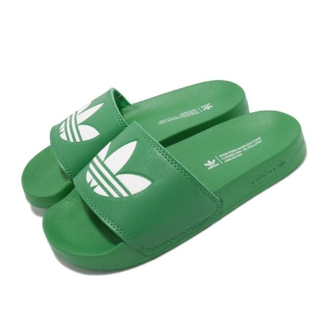【adidas 愛迪達】拖鞋 Adilette Lite 套腳 男女鞋 愛迪達 輕便 簡約 舒適 情侶穿搭 夏日 綠 白(FX5909)