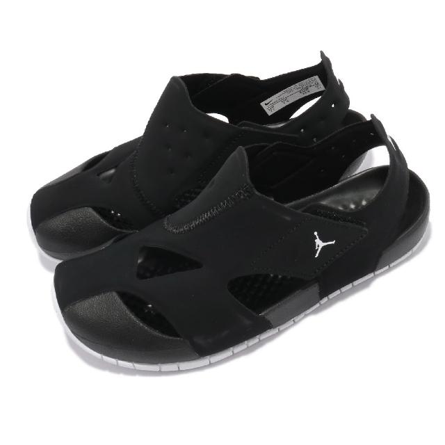 【NIKE 耐吉】涼鞋 Jordan Flare 套腳 穿搭 童鞋 基本款 喬丹 魔鬼氈 夏日 簡約 中童 黑 白(CI7849-001)
