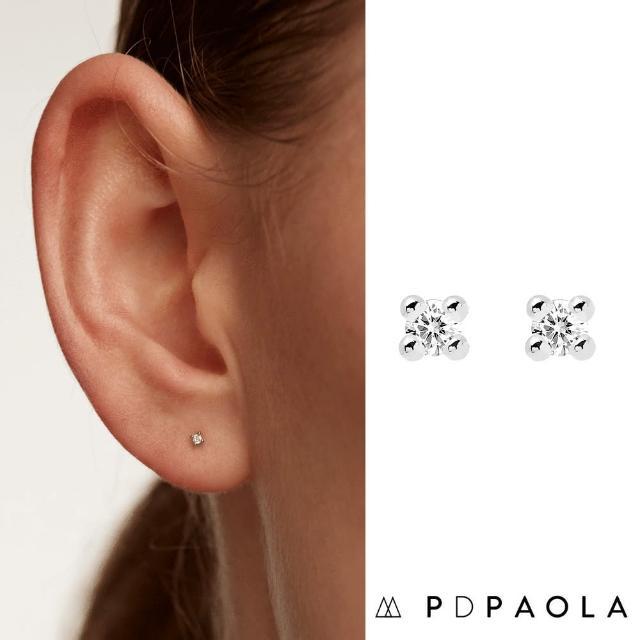 【PD PAOLA】西班牙時尚潮牌 銀色單鑽耳環 迷你白鑽耳環 925純銀(925純銀鑲18K金)