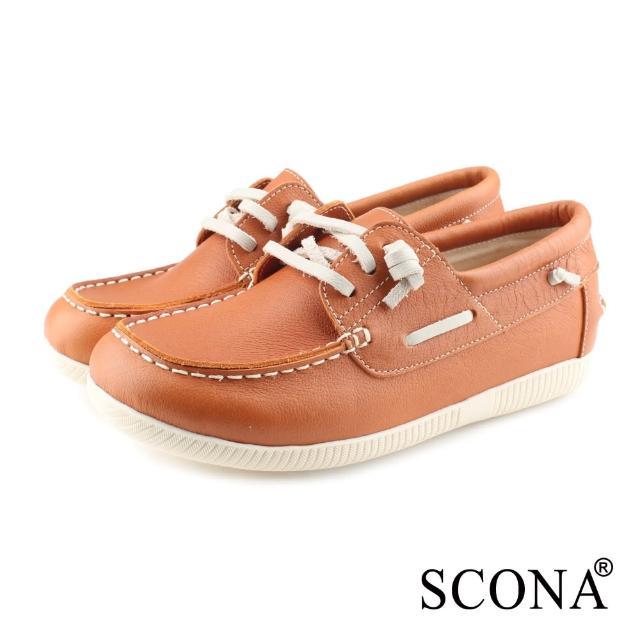 【SCONA 蘇格南】SCONA 蘇格南 全真皮 舒適休閒帆船鞋(橘色 7356-3)