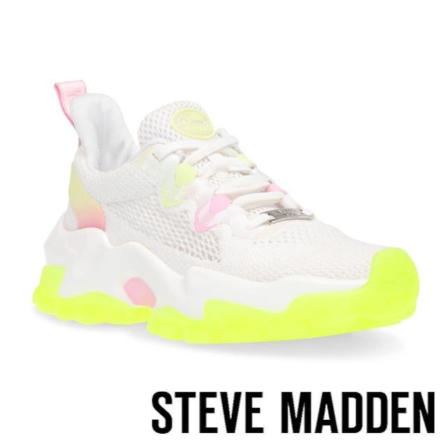 【STEVE MADDEN】POLARIZED 拼接透氣厚底運動休閒鞋(螢光)