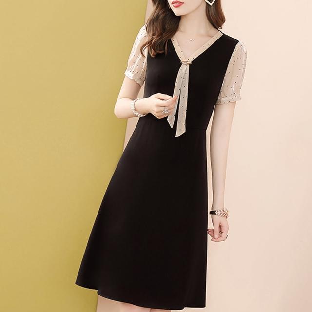 【FQ 時尚天后】香檳金V領晶飾點點短袖洋裝(中大尺碼/S-3XL)