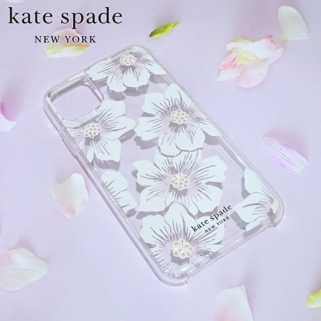 【KATE SPADE】iPhone 11 6.1吋 手機保護殼/套(蜀葵花+白色鑲鑽)