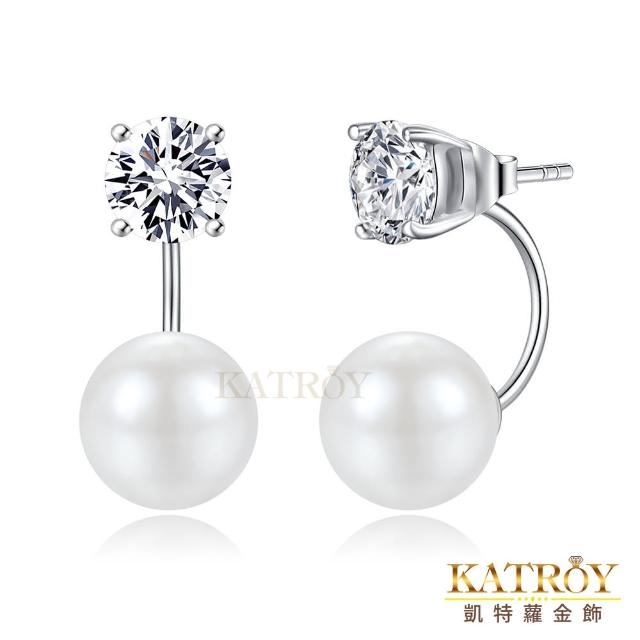 【KATROY】珍珠耳環 10.0 mm 擬真鑽 1.25 克拉 純銀耳環 FG6134-2(白色珍珠)