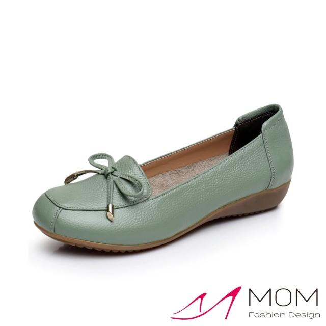 【MOM】真皮頭層牛皮氣質蝴蝶結飾軟底舒適坡跟鞋(綠)