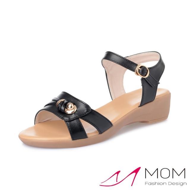 【MOM】真皮涼鞋 厚底涼鞋/真皮細緻牛皮縷空線條金屬釦造型厚底坡跟涼鞋(黑)