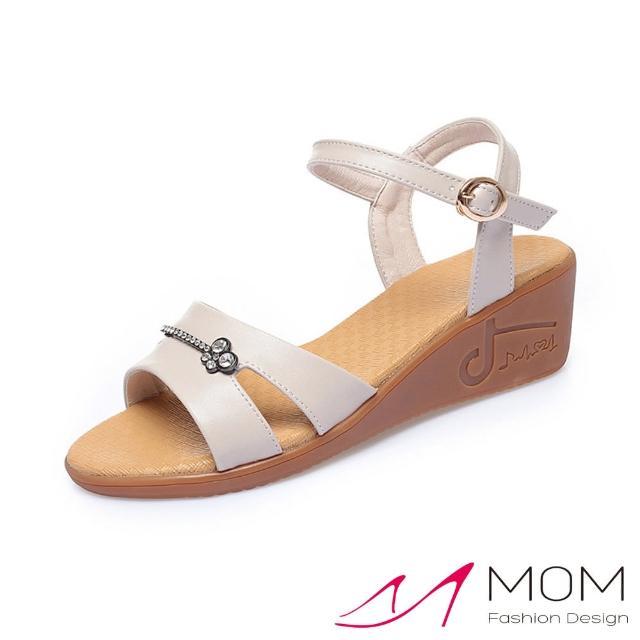 【MOM】真皮涼鞋 厚底涼鞋/真皮細緻牛皮水鑽飾面厚底坡跟涼鞋(米)