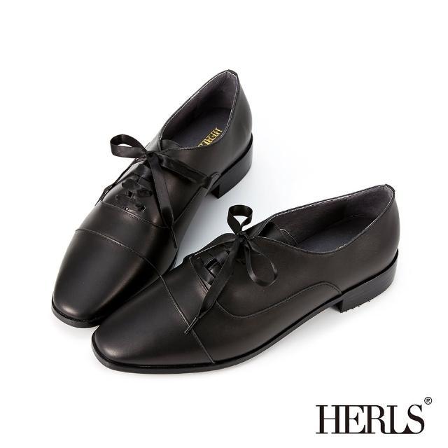 【HERLS】牛津鞋-全真皮緞帶方頭低跟牛津鞋(黑色)