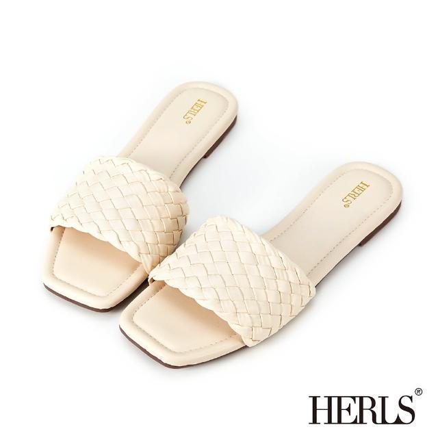 【HERLS】拖鞋-寬版編織設計涼拖鞋(米白色)