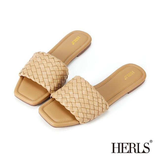 【HERLS】拖鞋-寬版編織設計涼拖鞋(駝色)