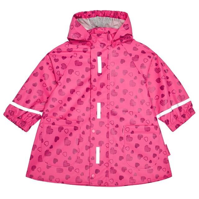 【Playshoes】超輕量可機洗連帽兒童雨衣外套-滿版愛心(防風防水)