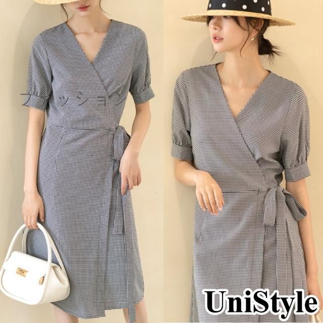【UniStyle】日本熱銷高端 復古格紋泡泡袖收腰中長版短袖連衣裙洋裝 女 VUZ3076