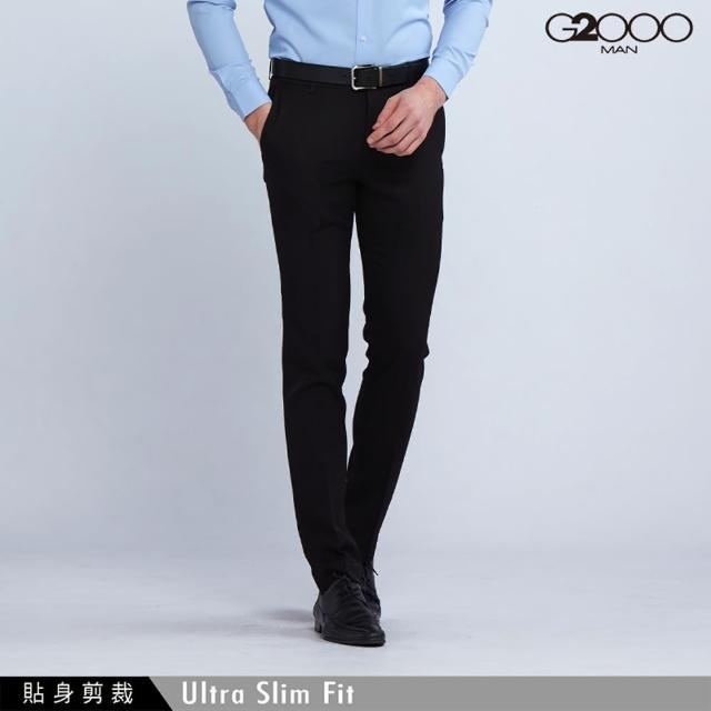 【G2000】時尚斜紋單品西褲-黑色(0815100699)