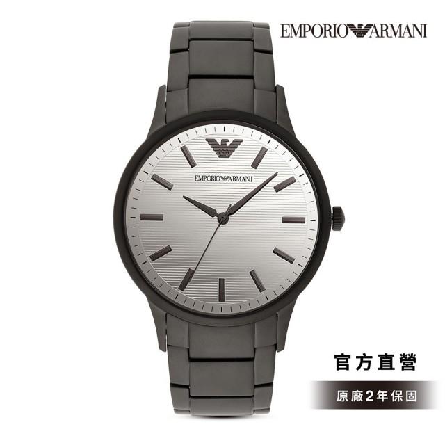【EMPORIO ARMANI】Renato 條紋鏡面時尚手錶 黑色不鏽鋼鍊帶 43MM AR11259