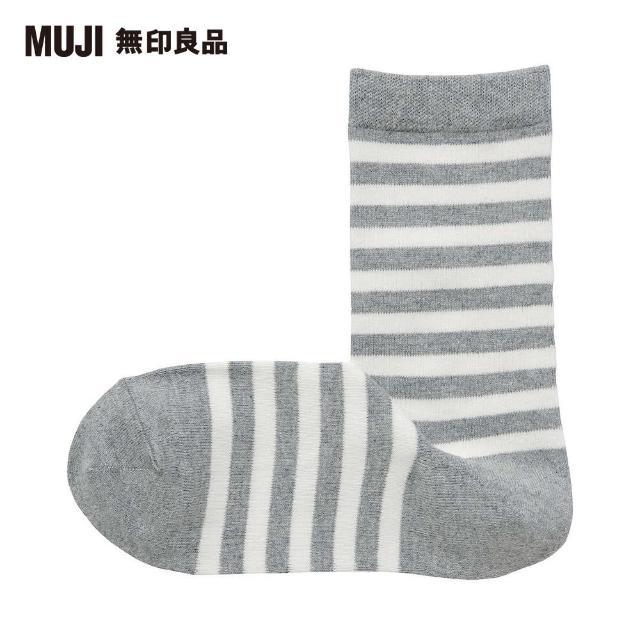 【MUJI 無印良品】女棉混足口寬鬆舒適橫紋直角襪(灰橫紋23~25cm)