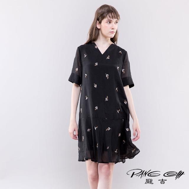 【PANGCHI 龐吉】繡花蕾絲V領天絲洋裝(2118012/91/92)